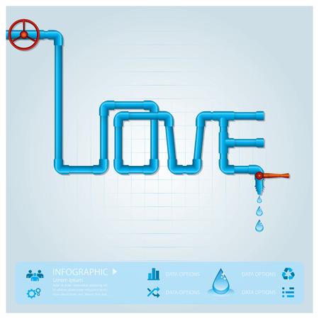 water pipe: Tubo de agua de negocios Infograf�a Para el D�a de San Valent�n Plantilla de Dise�o