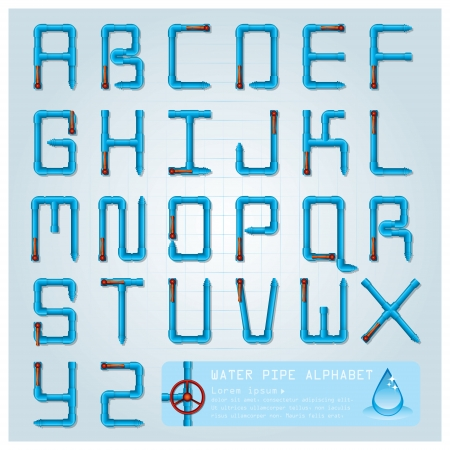 valves: Water Pipe Alphabet Character Design Template