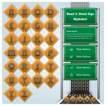 Road Street And Traffic Sign Alphabet Character Design Template