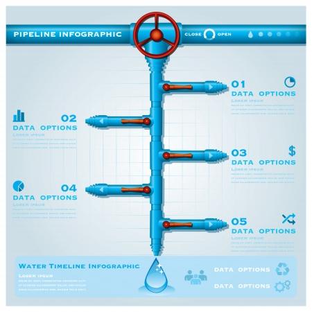 water pipe: Tubo de agua de negocios Infograf�a Cronolog�a Plantilla de Dise�o