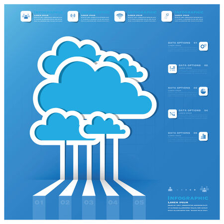Communication Connection Cloud Shape Business Infographic Design Template Vector