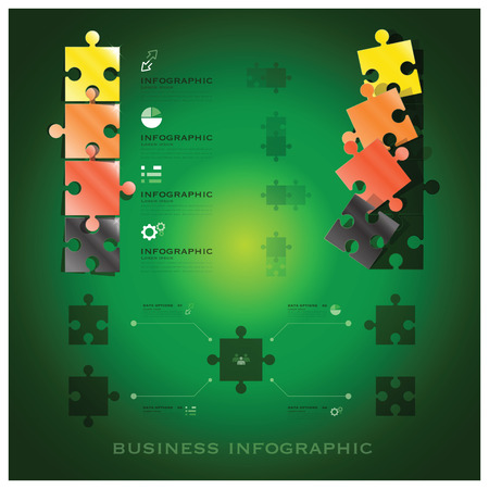 Modern Jigsaw Puzzle Business Infographic Background Design Template - Vector Design Background Pattern Vector