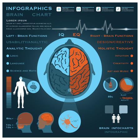 脳のインフォ グラフィック Infocharts 健康と医療科学の背景
