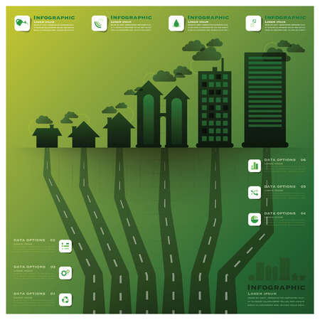 Pollution Tree And Root Infographic Science Background Design Template Vector