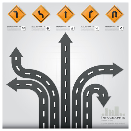 road: Road And Street Traffic Sign Business Infographic Background Design Template