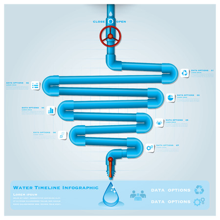 Water Pipe Timeline Business Infographic Design Template Vector
