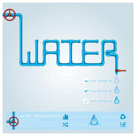 gota agua: Tubo de agua de negocios Infograf�a plantilla de dise�o Vectores
