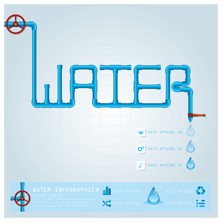 pipe water pipeline: Water Pipe Business Infographic Design Template
