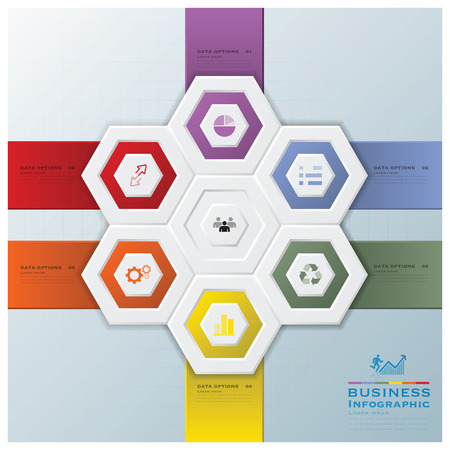 Moderne Business-Infografik Hexagon-Design-Vorlage Illustration