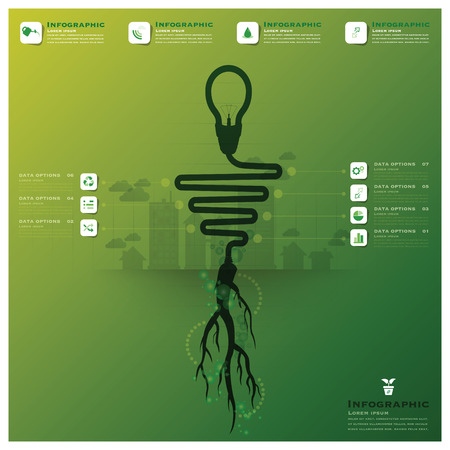 Light Bulb Tree And Root Infographic Science Background Design Template Vector