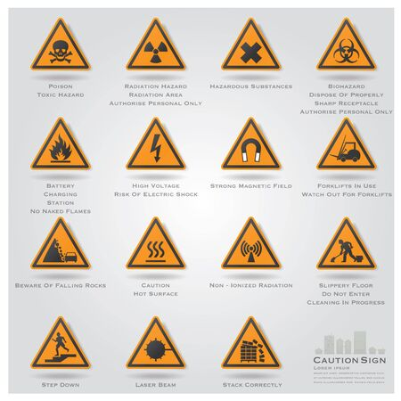 Caution And Warning Sign Icons Set Design Stock Vector - 27003894