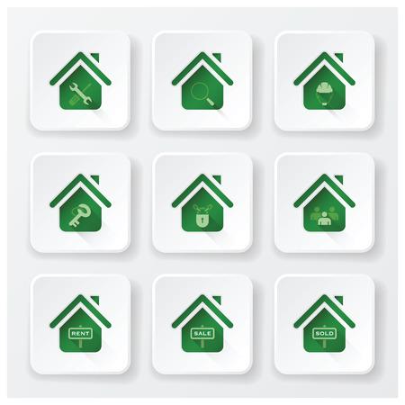 real estate house: Real Estate House Flat Icons Set Design