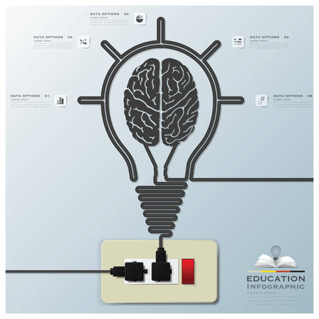 Brain Light Bulb Electric Line Education Infographic Background Design Template Vector