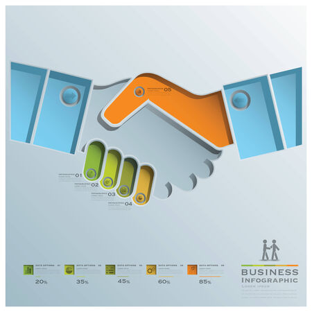 Hand Shake Business Infographic Business Infographic Design Template Vector