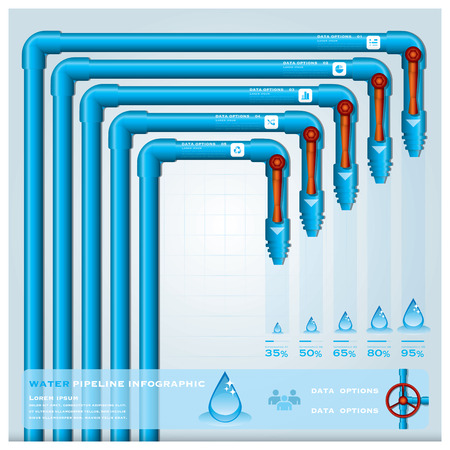 Wasser Pipeline-Gesch�ft Infografik Design-Vorlage Illustration