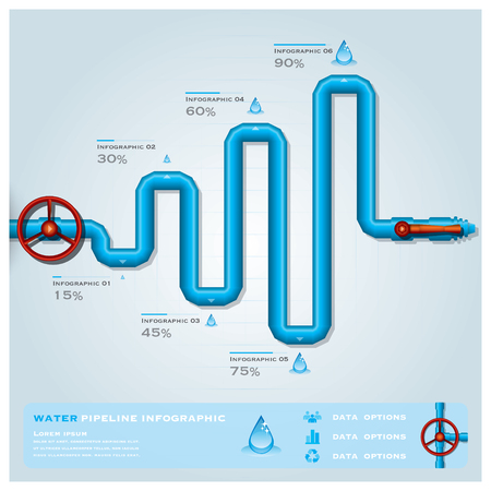 faucet water: Water Pipeline Business Infographic Design Template