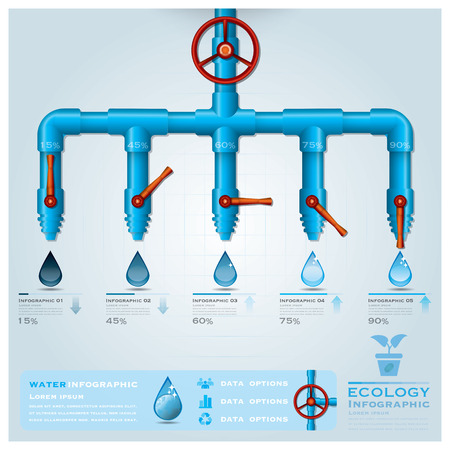 Ecology Water Pipeline Business Infographic Design Template Vector