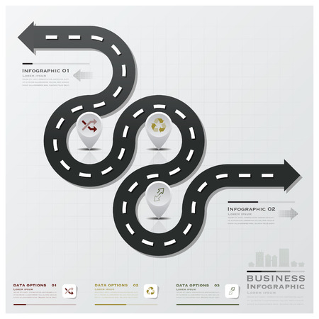 road line: Road And Street Business Infographic Design Template Illustration