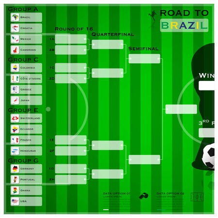 Road To Brazil 2014 Football Tournament Sport Infographic Background Vector