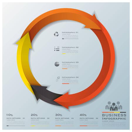 Modern Curve Arrows Business Infographic Design Template Illustration