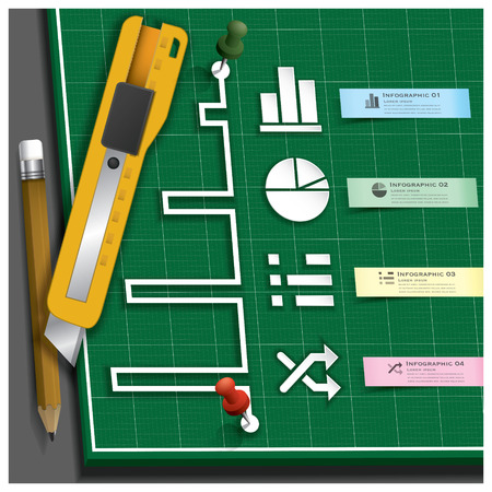 infomation: Business Infographic Paper Cut Style With Pencil And Cutter On Self Healing Cutting Mat Design