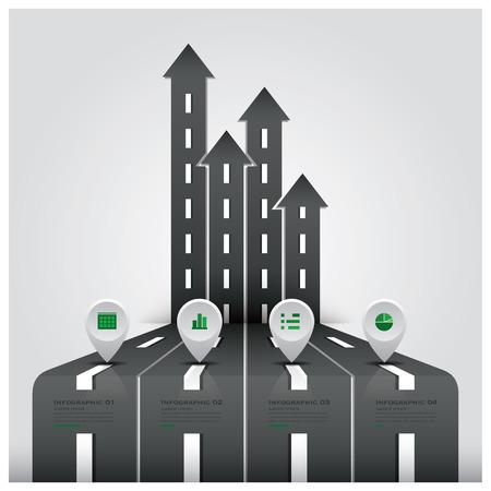Stra�en-und Stra�enverkehrszeichen Business-Infografik-Design-Vorlage Illustration