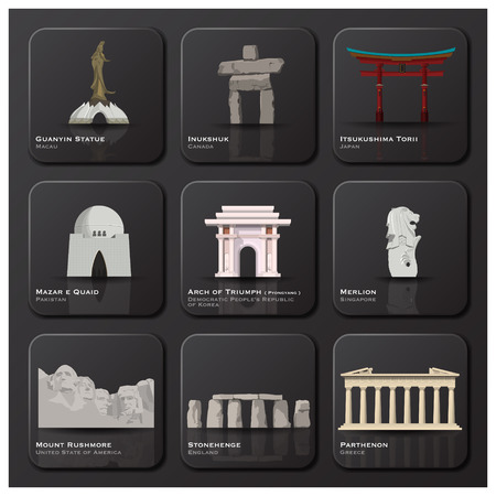 Famous Landmark Of The World Icon Set Design Template