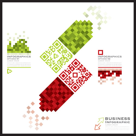 qr code: QR Code Business Infographics Banner And Background Design Template Illustration