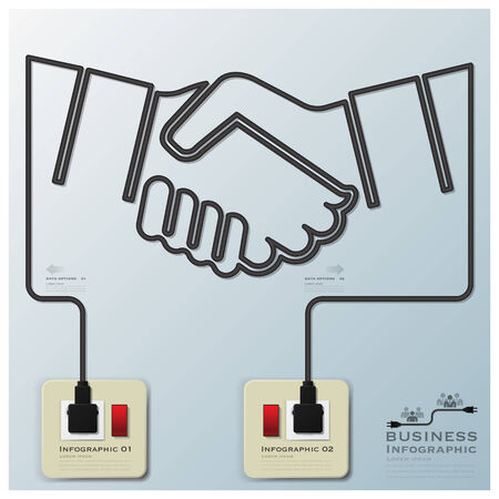 Hand Shake Electric Line Business Infographic Design Template Vector