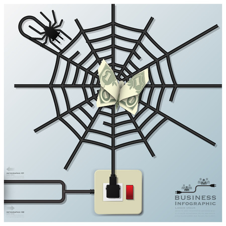 Spider Web With Money Butterfly Electric Wire Line Business Infographic Design Template Vector