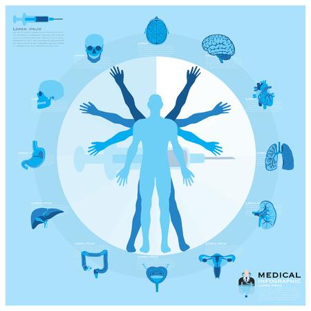 健康と医療のインフォ グラフィック デザイン テンプレート  イラスト・ベクター素材