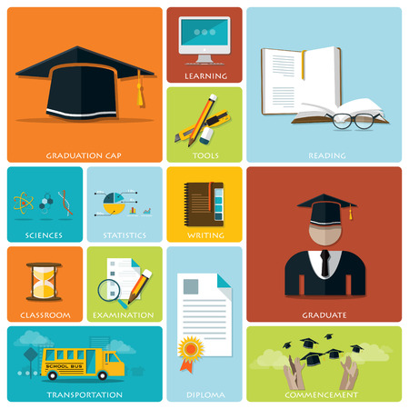 creative writing: Education And Graduation Flat Icon Set Design Template