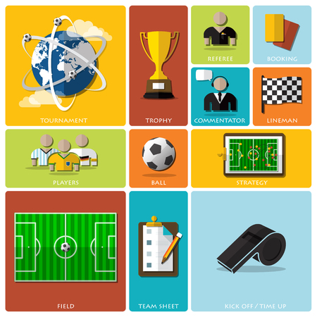 commentator: Football Tournament And Sport Flat Icon Design Design Template