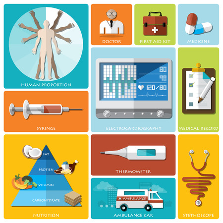 ambulance: Health And Medical Flat Icon Set Design Template
