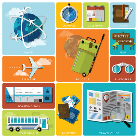 travel guide: Travel And Journey Flat Icon Set Design Template