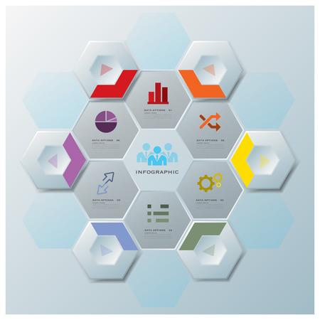 현대 육각 비즈니스 인포 그래픽 디자인 템플릿