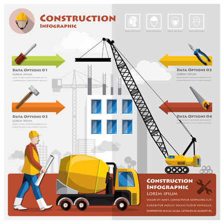 warning saw: Construction And Building Business Infographic Design Template