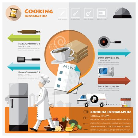 Cooking And Ingredient Infographic Design Template Vector