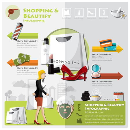 beautify: Woman Shopping Beautify And Lifestyle Infographic Design Template Illustration