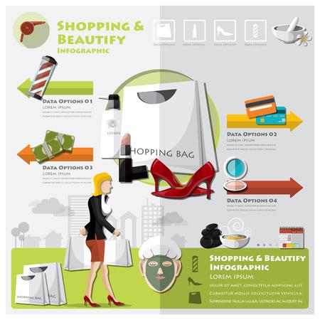 Woman Shopping versch�nern und Lebensstil Infographic Design-Vorlage Illustration