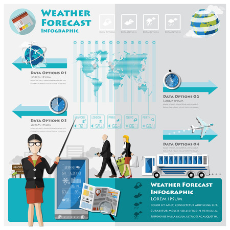 timezone: Weather Forecast Infographic Design Template Illustration