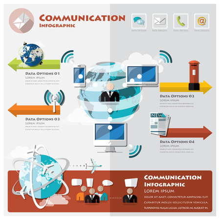 infochart: Communication And Connection Infographic Design Template Illustration