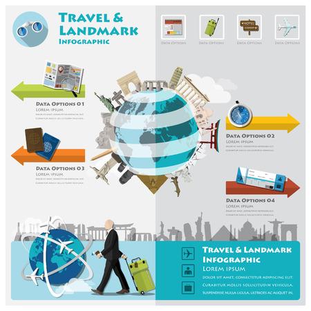 여행 및 여행 랜드 마크 인포 그래픽 디자인 템플릿