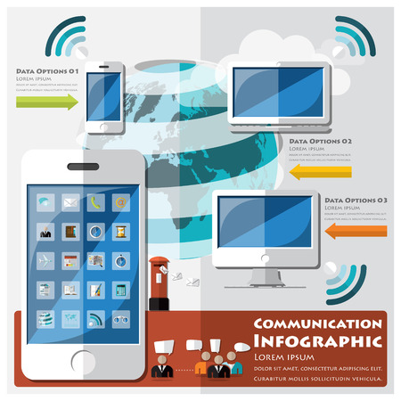 international news: Communication And Connection Infographic Design Template Illustration