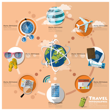 tour guide: Travel And Journey Business Infographic Design Template Illustration