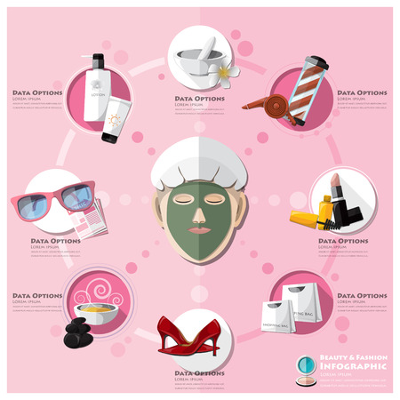 beauty mask: Woman Shopping Beauty And Fashion Lifestyle Infographic Design Template