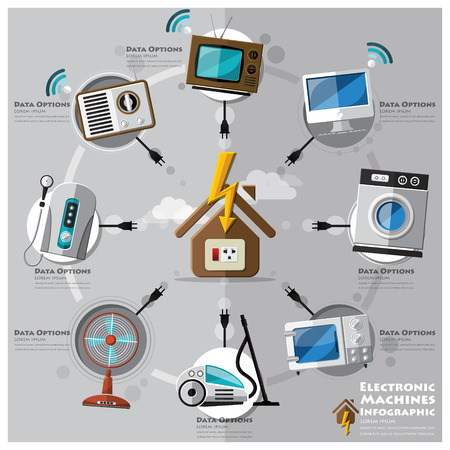 water heater: Electronic Machine And House Flat Icon Business Infographic Design Template