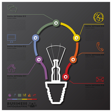Light Bulb Connection Timeline Business Infographic Design Template