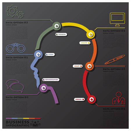 learning process: Human Head Learning Process System Connection Timeline Business Infographic Design Template
