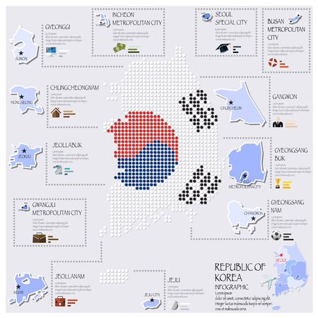 korea map: Dot And Flag Map Of Republic Of Korea Infographic Design Template